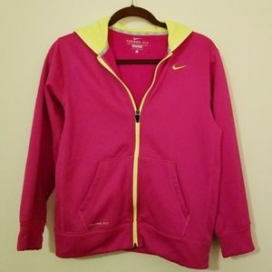 Nike Therma Fit Large Pink/Yellow Hoodie Jacket
